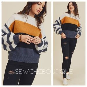 New!! Color Block Sweater with Balloon Sleeves